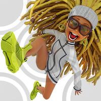 Urban cartoon woman running in puma sneakers (2)