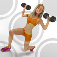 Woman doing dumbell lunge 2