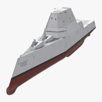 Zumwalt Class Destroyer US Stealth Ship Rigged