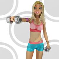 Fitness woman raising dumbells 2