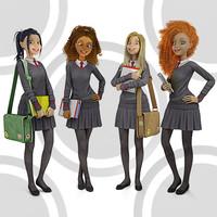 Teenage girl private school students posing 2