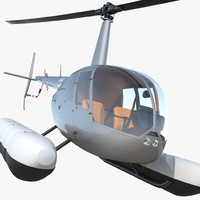 Helicopter Robinson R44 With Floats Rigged 3