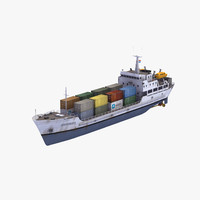 light cargo container ship 3d model