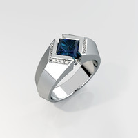 Mens ring with square gemstone 016