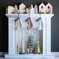 3d fireplace christmas fir