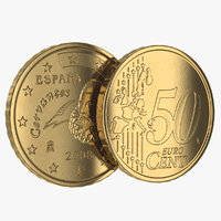 3ds max spain euro coin 50