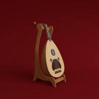 oud instrument string 3d model