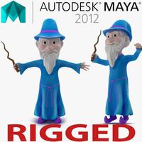 Cartoon Wizard Rigged for Maya