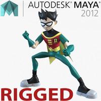 Robin Cartoon Character Rigged for Maya