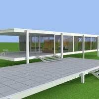 farnsworth house architect 3d c4d