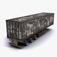 low-poly truck cargo container max