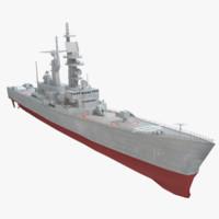 3d uss arkansas ship model