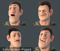 cartoon man rigged toon obj