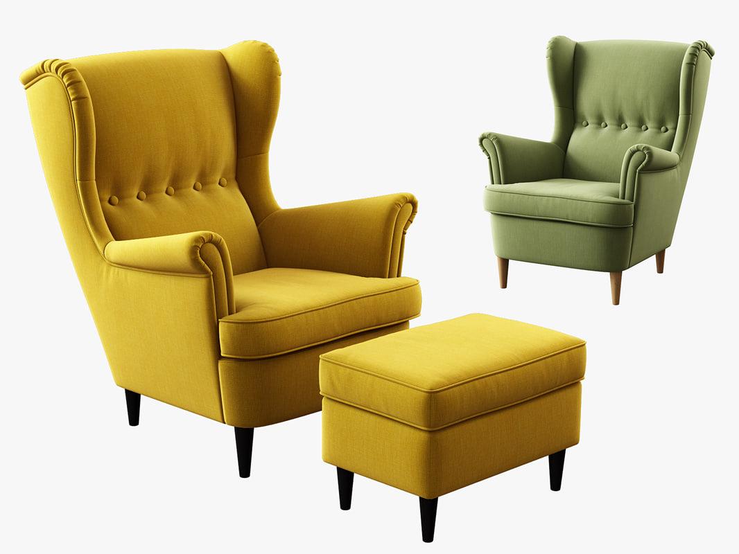 3d Model Ikea Strandmon Wing Chair Ottoman