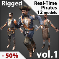 3d rigged pirates real-time model