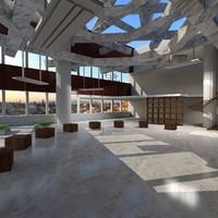 office loft atrium environment 3d c4d