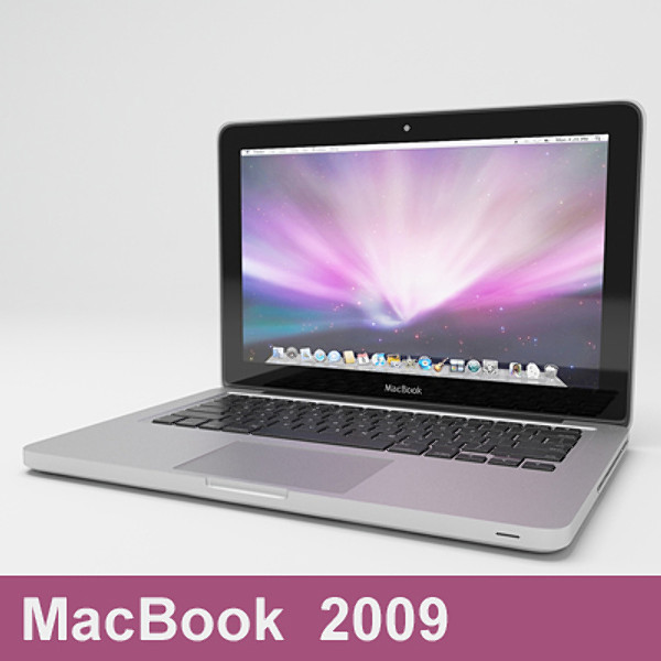 mac book 2009 laptop 3d model - macbook notebook 13 inch 2009... by ditodito designs