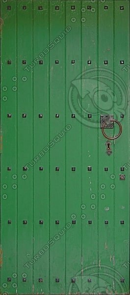 D166 wooden door green