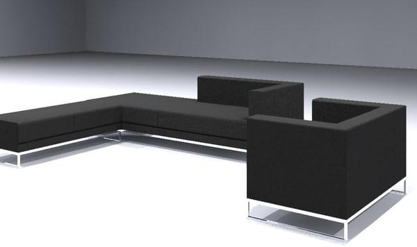 3ds sofa set contemporary bench
