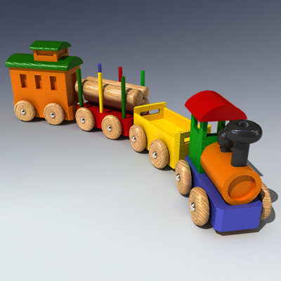 wooden toy train 3ds