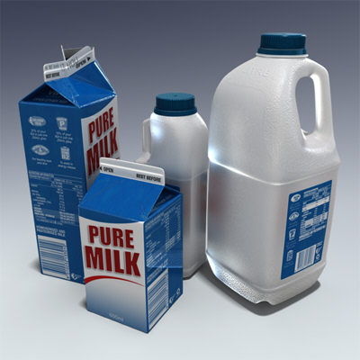 milk containers plastic bottle 3d model