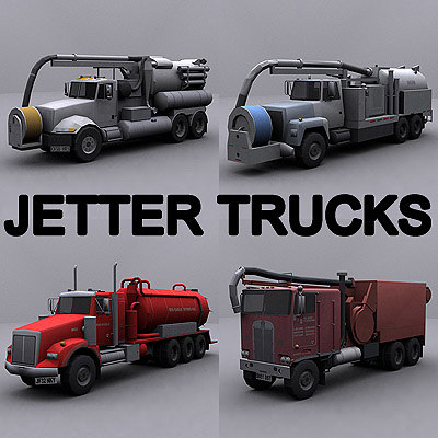 ready jetter truck 3d model - Jetter Trucks collection... by GameArt3D