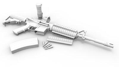 obj m4 gun highpoly version