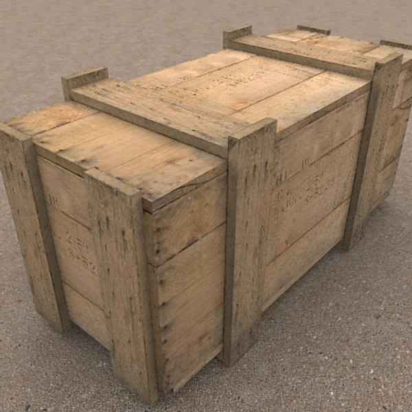wooden packing crate 3d 3ds