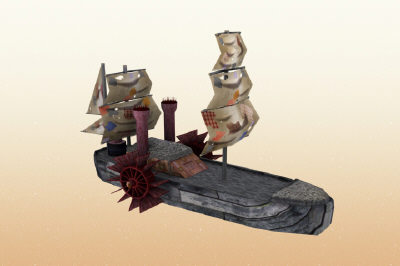 steamship fantasy steampunk 3d model