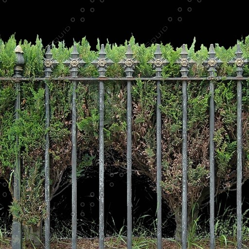 F005 metal railing fence hedge texture