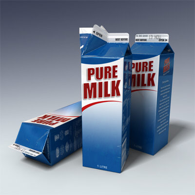 litre milk carton 3d model - Milk Carton - 1 litre... by Adam Walker Film