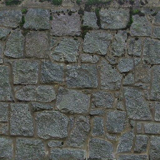 W123 mossy stone wall