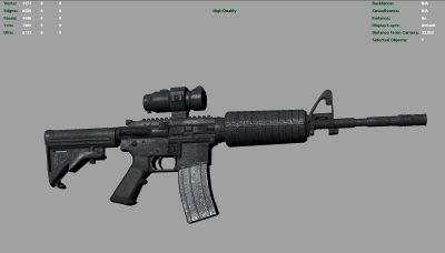 m4 gun midpoly 3d obj