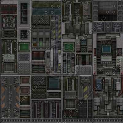 SF023 sci-fi metal wall control room lab texture