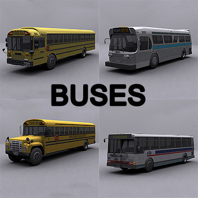 ready bus buses 3d model - Buses collection... by GameArt3D
