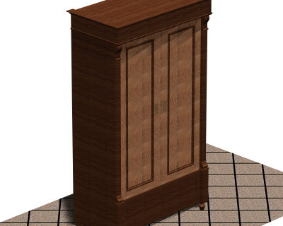 3d autocad antique wardrobe