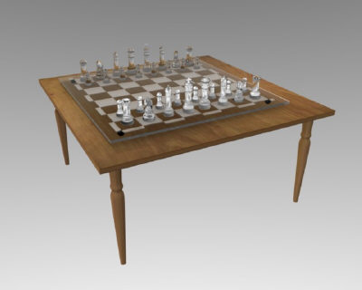 3d glass chess board model