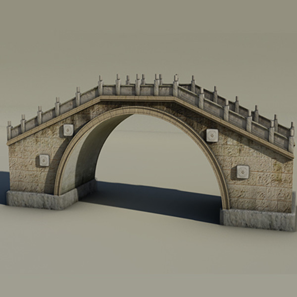 3ds max old chinese bridge