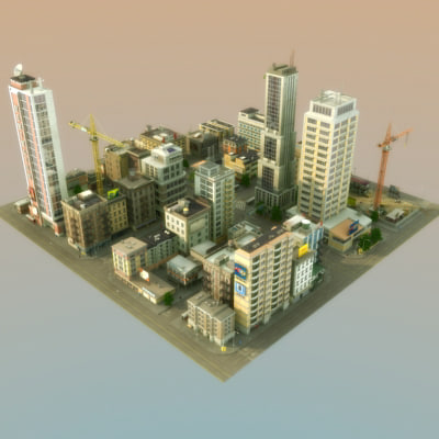 modular city buildings hd 3d max - HD City... by ES3DStudios