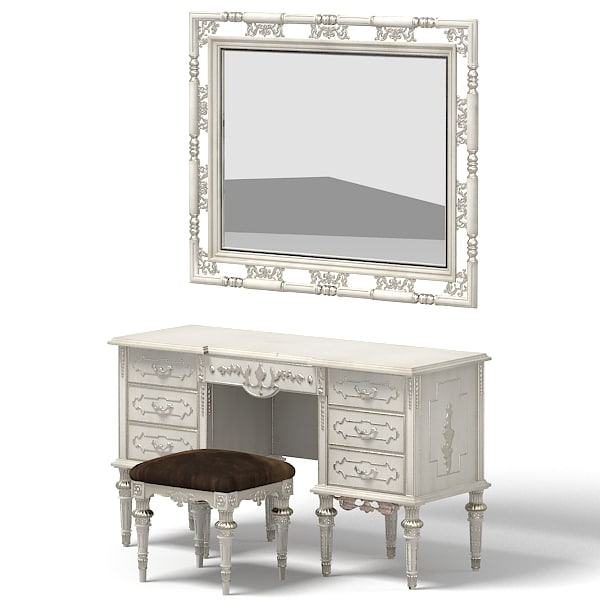 ASNAGHI classic baroque lady desk pouf banquette antique ottoman mirror