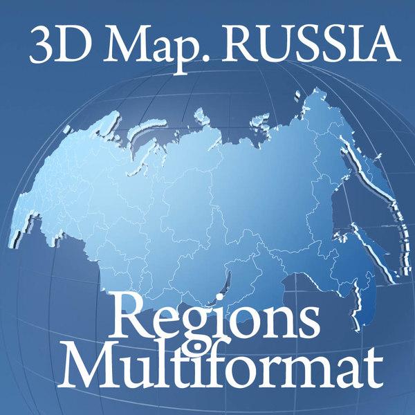 globe russia regions 3d model
