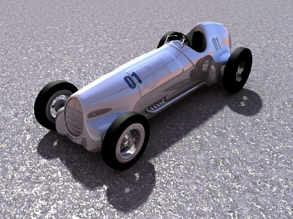old car wheel 3d model - Old silver bullet race car... by TotexArtz