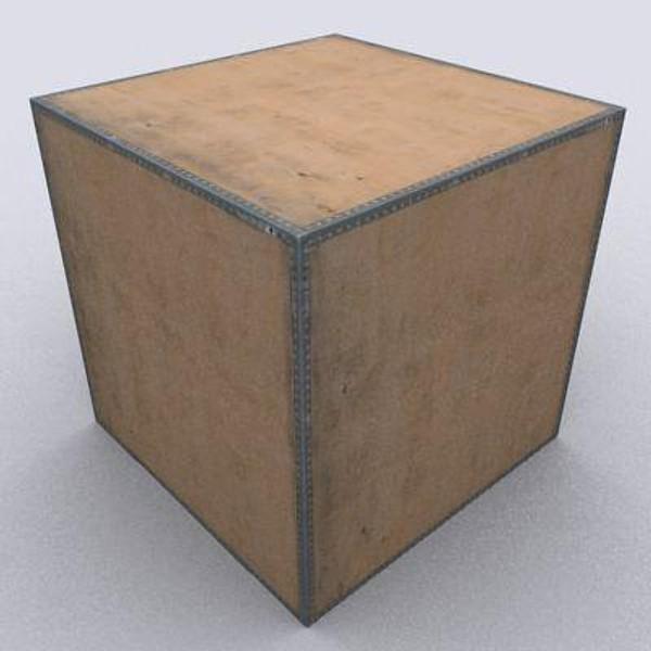 wooden storage crate box 3d 3ds