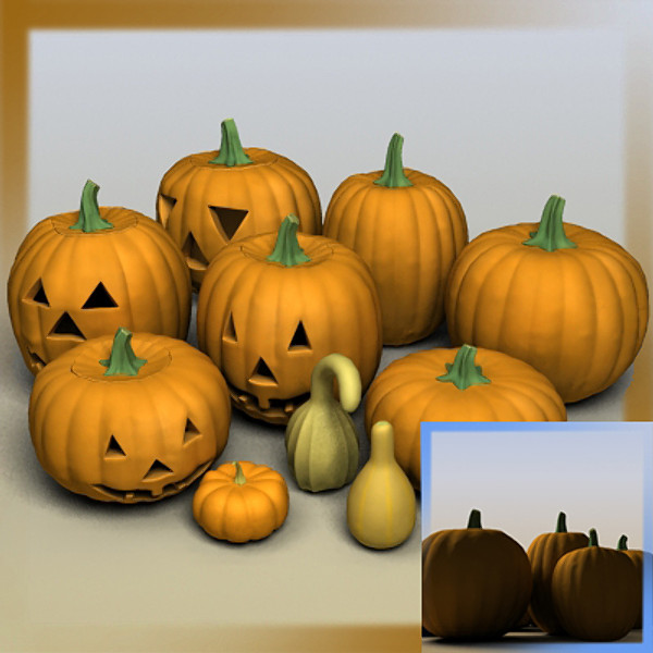 pumpkins gourds 3d model - Pumpkin Halloween Jackolantern Gourd... by Braden Lehman