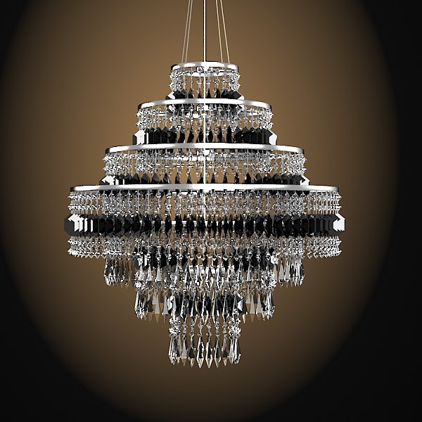 3d model bar chandelier crystal - bar chandelier crystal glass... by archstyle