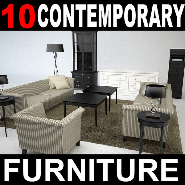 contemporary furniture sofa lounge chair 3d obj - contemporary furniture... by mmvis