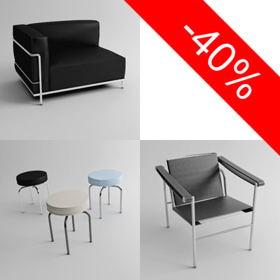 3d le corbusier - Great Le Corbusier furniture pack... by Lajhar