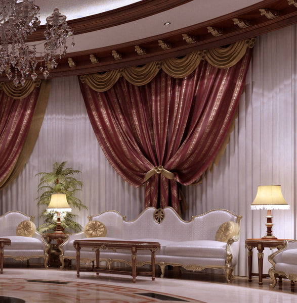 3d classical private palace model - Private palace_ sitting area... by 3D.Art