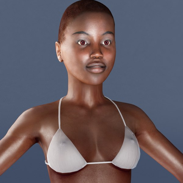 rigged female 3d model - Female_African_Rigged_VRay... by ES3DStudios