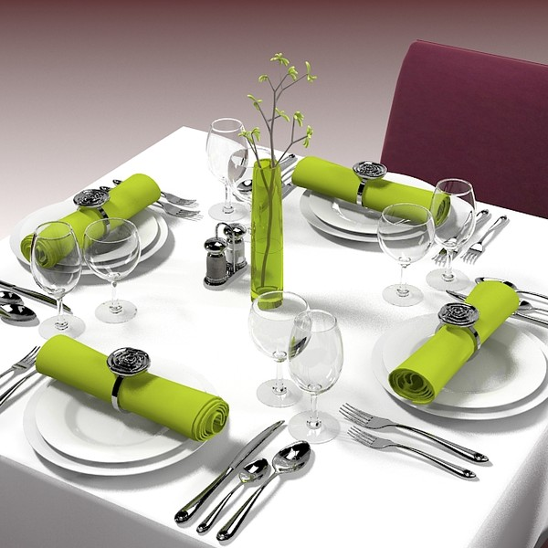square restaurant table 3d model - Square Restaurant Table Banquet... by shop3ds